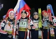 Biathlonistki Rosji wygrały bieg sztafetowy w niemieckim Ruhpolding /AFP