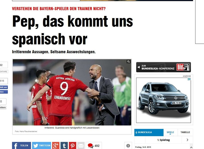 """""""Bild"""" zamieścił zdjęcie, na którym Pep Guardiola szarpie Roberta Lewandowskiego /Internet"""