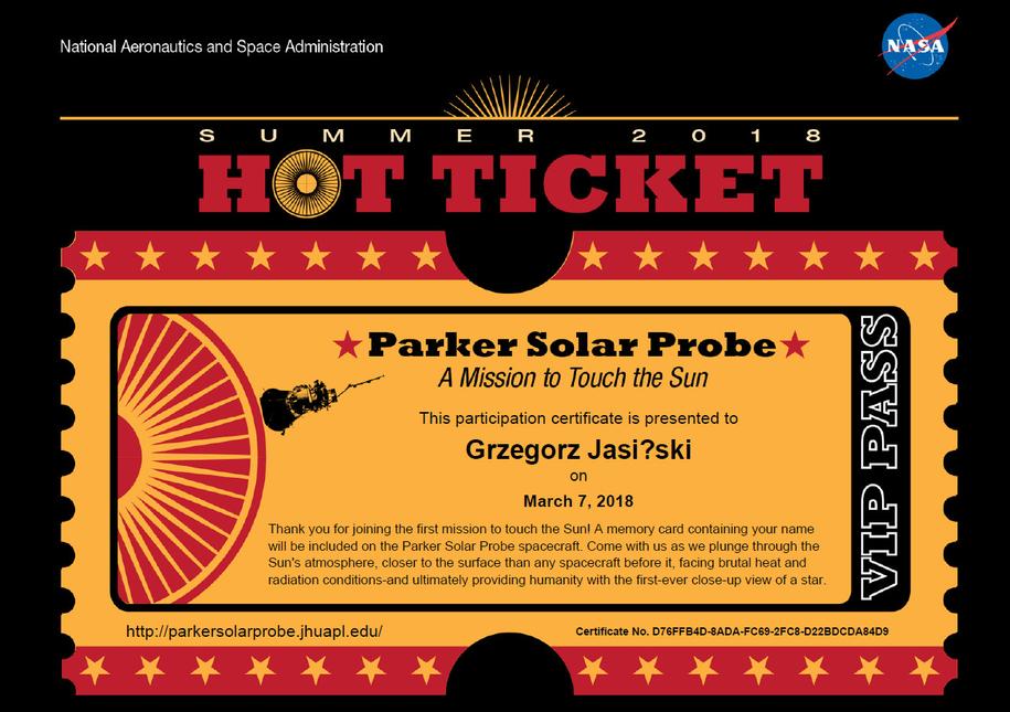 Bilet Grzegorza Jasińskiego na Słońce /NASA /Zrzut ekranu