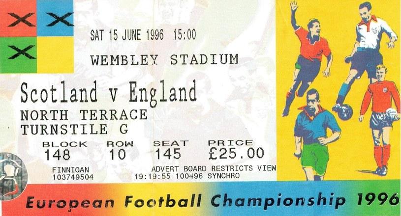 Bilet na mecz Anglia - Szkocja w 1996 r. ze zbiorów Martina Kitsona /