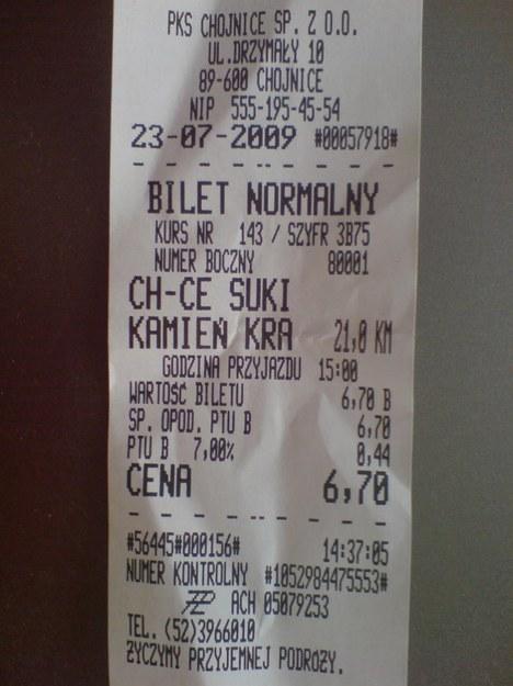 Bilet na trasie Chojnice - Sukienników