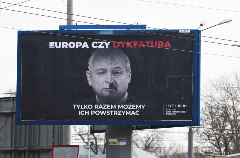 Billboard z podobiznami Jarosława Kaczyńskiego i Alaksandra Łukaszenki /Krzysztof Radzki /East News