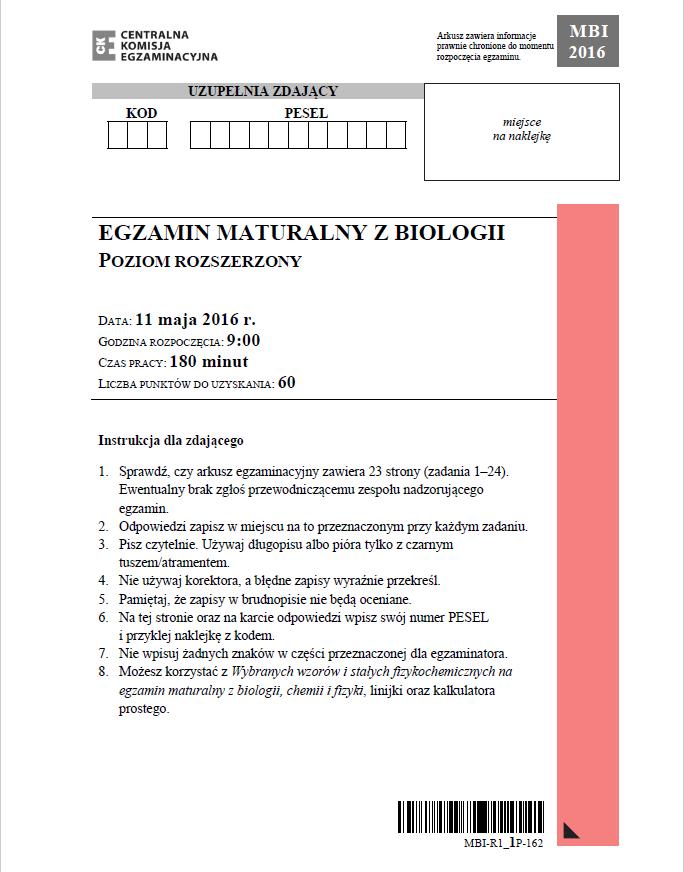 Biologia - poziom rozszerzony, str. 1 /CKE /