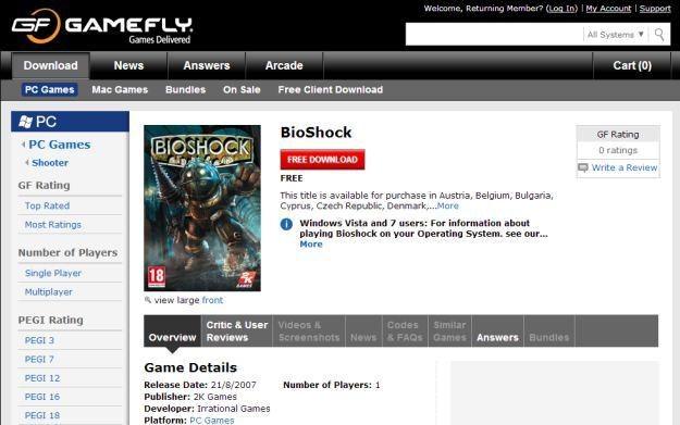 BioShock dostępny za darmo w ofercie sklepu GameFly /