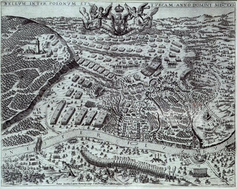 Bitwa pod Chocimiem - wg Giacomo Lauro (rycina) /Biblioteka Narodowa