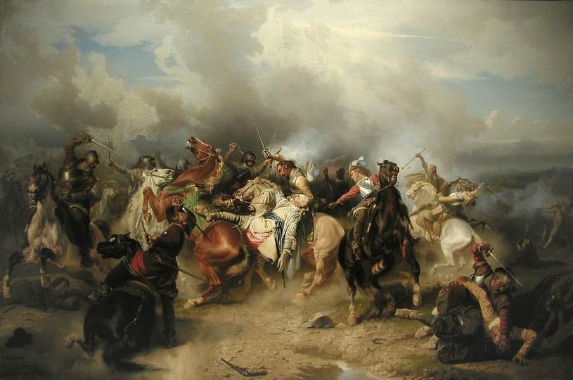 """""""Bitwa pod Lutzen"""" Carla Wahlboma przedstawia śmierć szwedzkiego króla Gustawa II Adolfa /Wikimedia Commons /domena publiczna"""