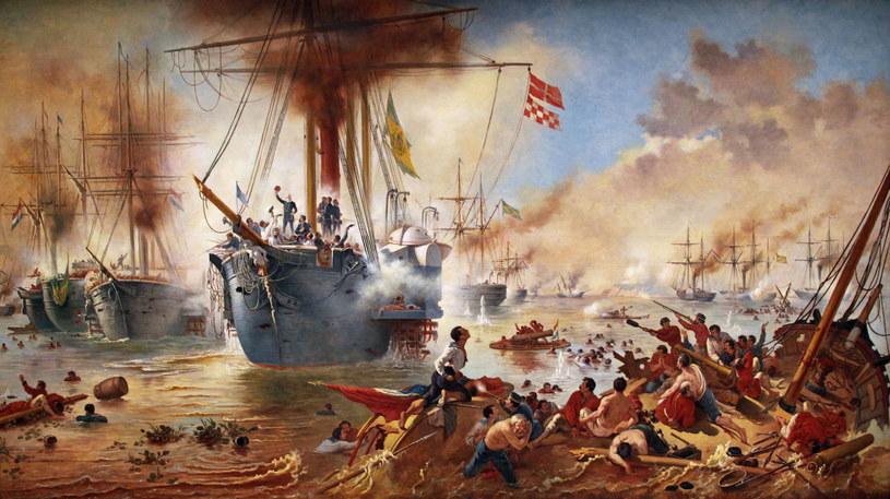 Bitwa u ujścia Riachuelo na obrazie Vitora Meirellesa /Wikimedia Commons /INTERIA.PL/materiały prasowe