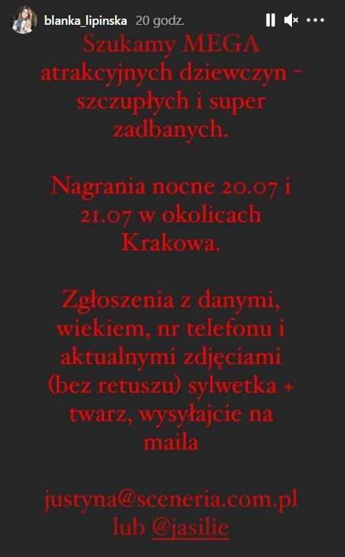 """Blanka Lipińska szuka dziewczyn do drugiej części filmu """"365 dni"""" /materiały prasowe"""