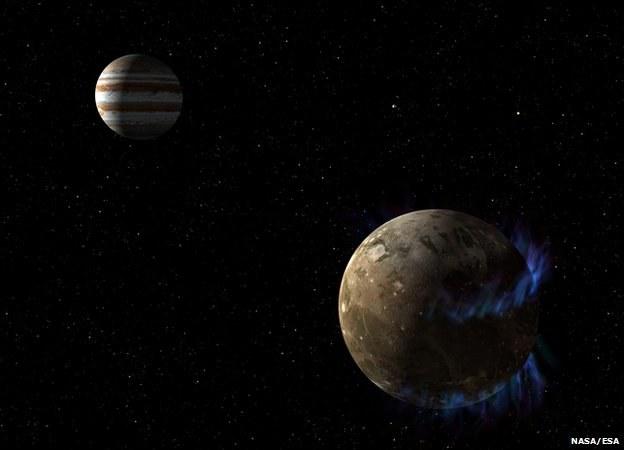 Bliskość Jowisza powoduje zorze polarne na Ganimedesie /NASA