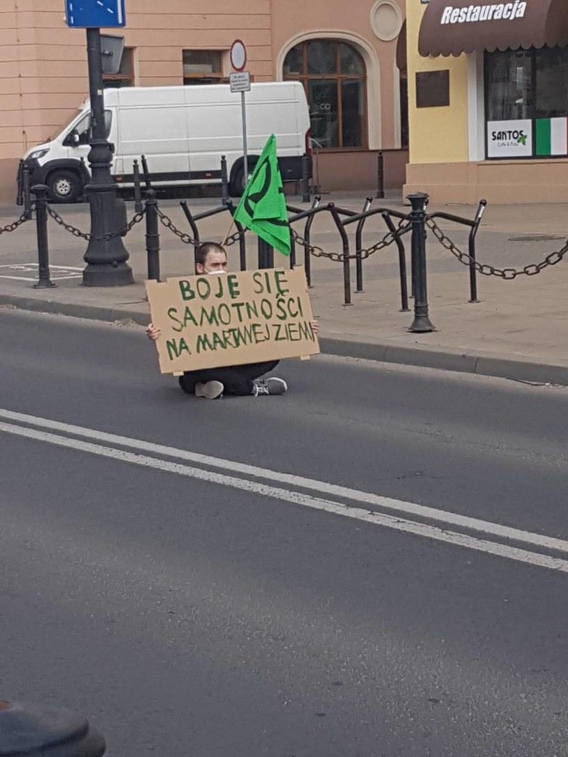 Blokada jednej z ulic w Lublinie. /Extinction Rebellion