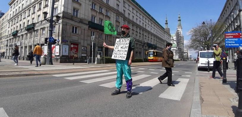 Blokada ul. Marszałkowskiej w Warszawie. /Extinction Rebellion