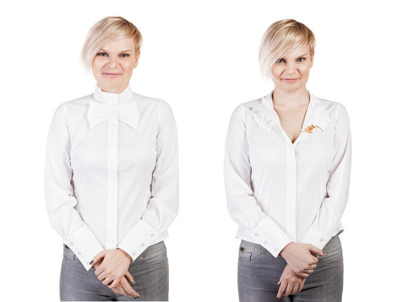 Bluzki zapięte pod samą szyję dobrze wyglądają na dziewczynach z małym biustem /Joanna Czaczkowska /Styl.pl/materiały prasowe