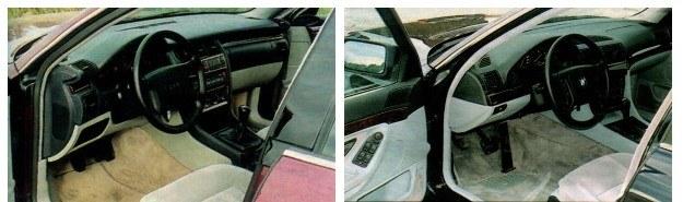 BMW słynie z wzorowego opracowywania wnętrz. Zastrzeżenie może wzbudzać jedynie nożny hamulec awaryjny. Niewykluczone, że młodszym użytkownikom bardziej będzie odpowiadało wnętrze Audi. Dla odmiany hamulec ręczny mógłby w nim działać skuteczniej. W obu autach klamki wewnętrzne powinny być przesunięte nieco do przodu. W BMW drzwi są za ciężkie, a w Audi wydają się one aż za lekkie. /Motor