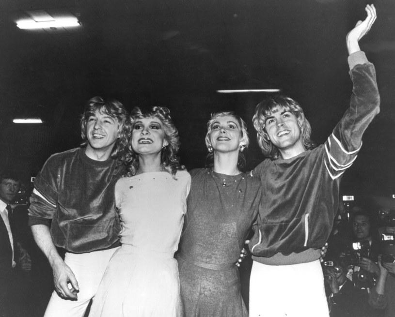 Bobby G, Jay Aston, Cheryl Baker i Mike Nolan po zwycięstwie na Eurowizji w 1981 roku /Keystone /Getty Images