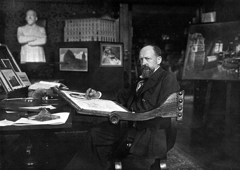 Bodo Ebhardt (1865-1945) w swojej pracowni w Berlinie - Grunewald. Zb. Landesarchiv Berlin. /Odkrywca