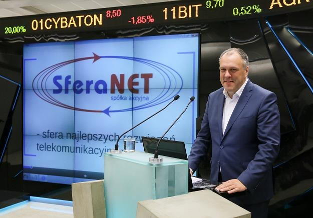Bogusław Sromek, prezes SferaNET, w czasie debiutu na NewConnect /PAP