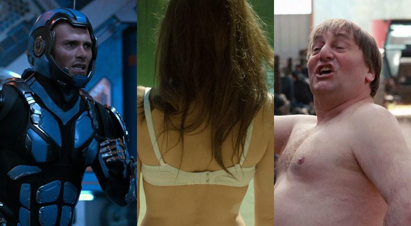 """Bohaterowie filmów: """"Pacific Rim: Rebelia"""" (L), """"Wieża. Jasny dzień"""" (C) i """"Naga Normandia"""" (P) /materiały dystrybutora"""