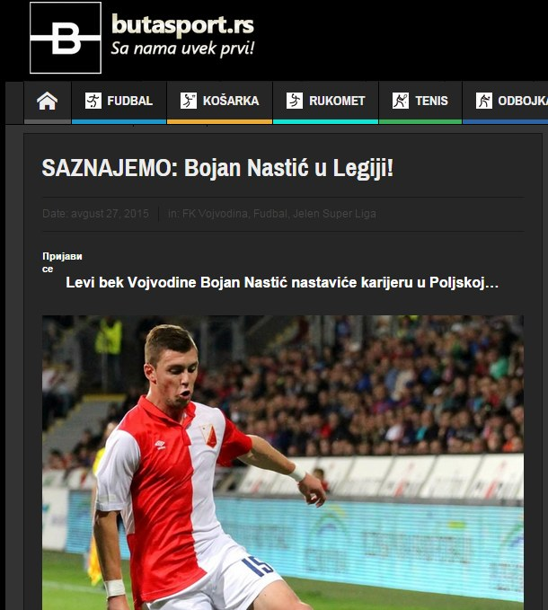 Bojan Nastić zagra w Legii? Źródło: http://butasport.rs/fudbal/saznajemo-bojan-nastic-u-legiji/ /INTERIA.PL