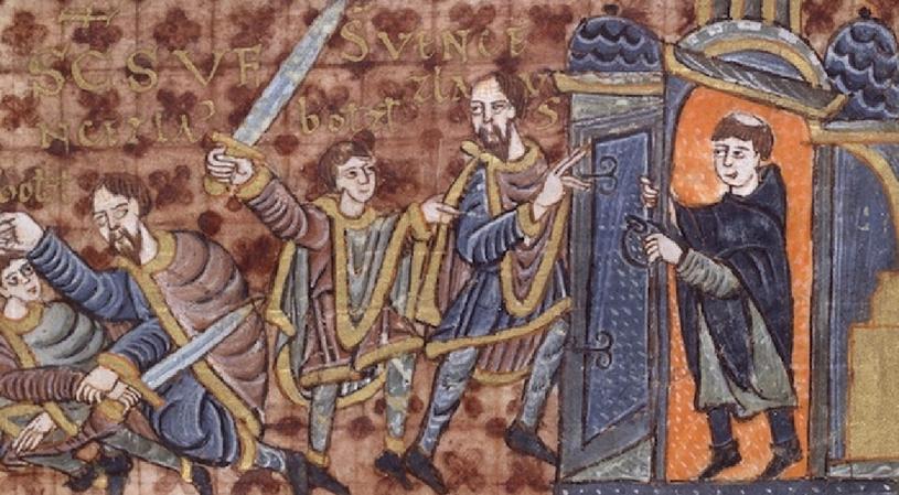 Bolesław morduje Wacława, a przekupiony duchowny odcina ofierze drogę ucieczki. Iluminacja z jednej z najcenniejszych czeskich ksiąg – kodeksu z Wolfenbüttel /domena publiczna