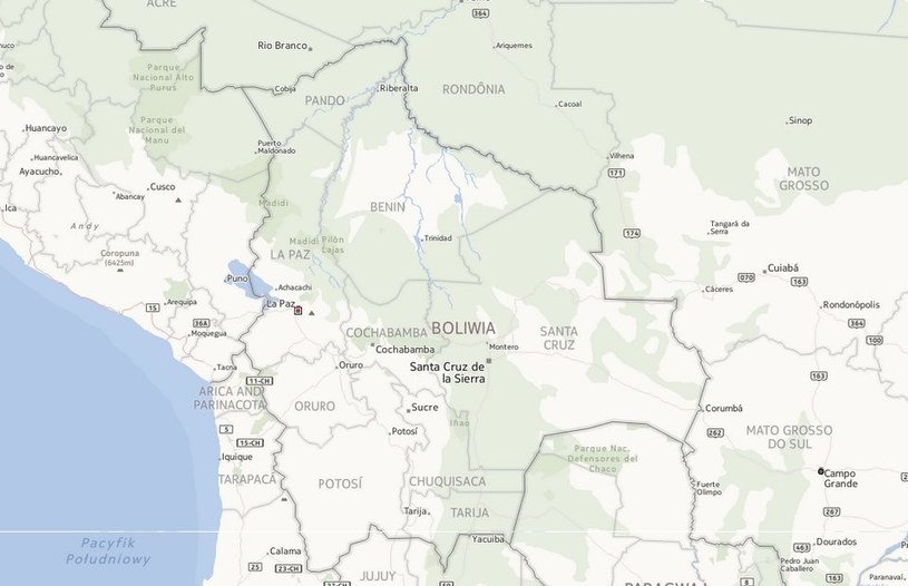 Boliwia pozywa Chile. Chce dostępu do morza /Mapy.interia.pl /