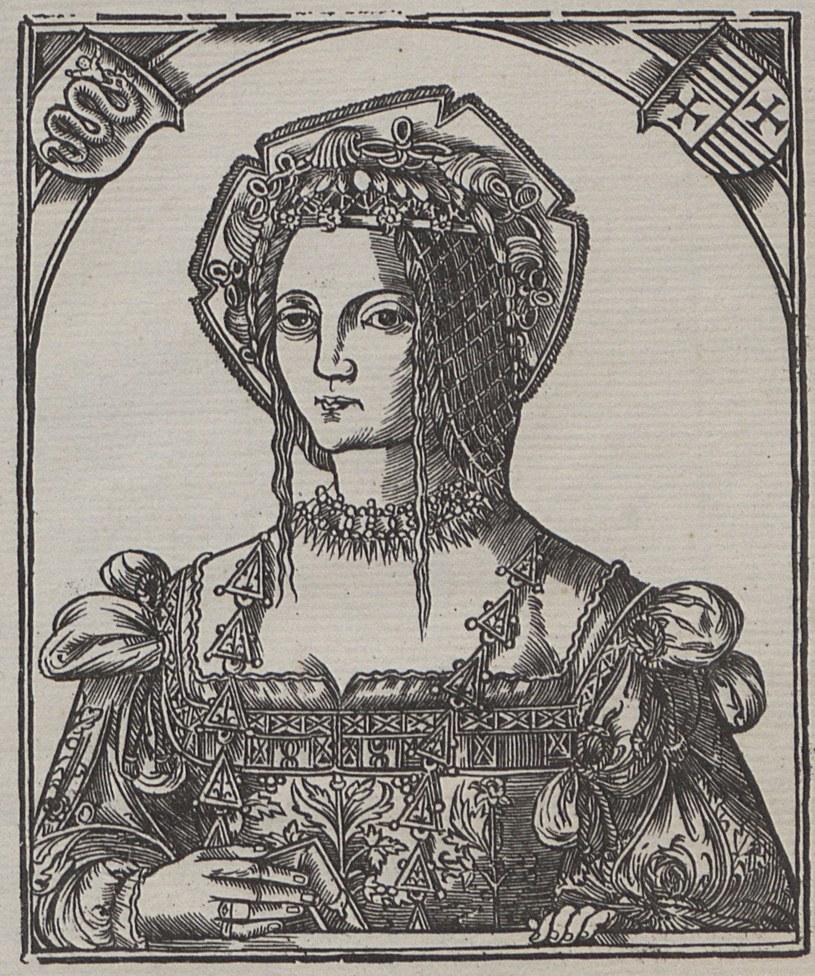Bona Sforza na drzeworycie z 1521 roku (źródło: domena publiczna). /Ciekawostki Historyczne