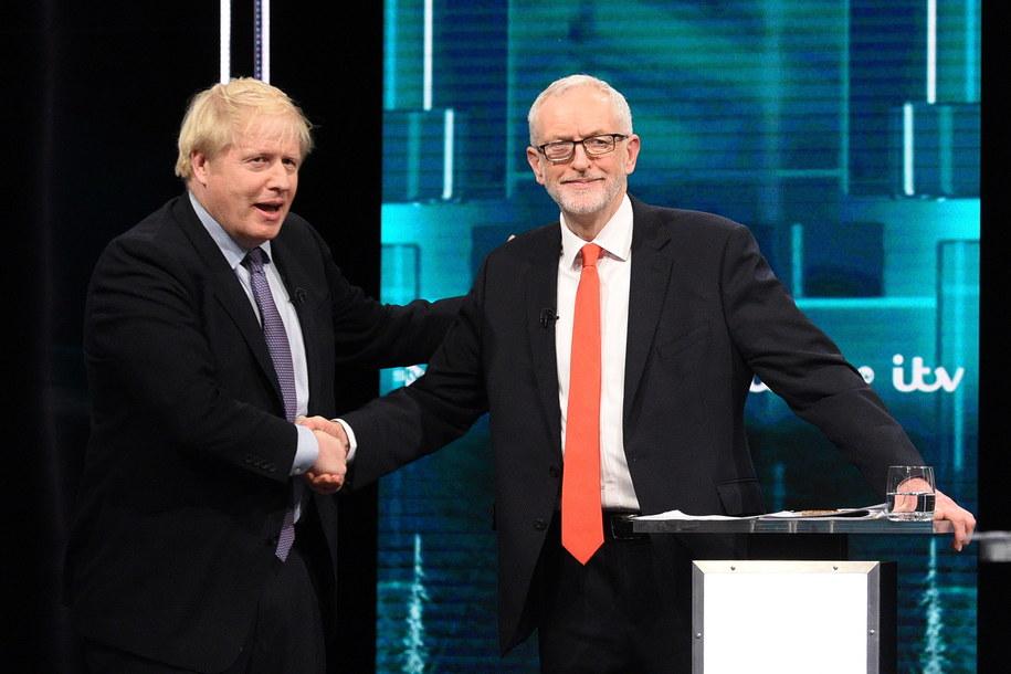 Boris Johnson i Jeremy Corbyn podczas debaty telewizyjnej /JONATHAN HORDLE / ITV  /PAP/EPA