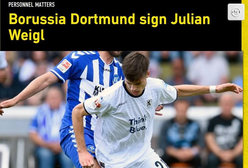 Borussia pochwaliła się nowym nabytkiem. Do zespołu dołączył Julian Weigl; źródło: www.bvb.de /
