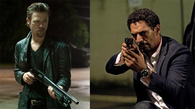 Brad Pitt (L) i Tomer Sisley (P): Inny status gwiazdy, inny kaliber broni... /materiały dystrybutora