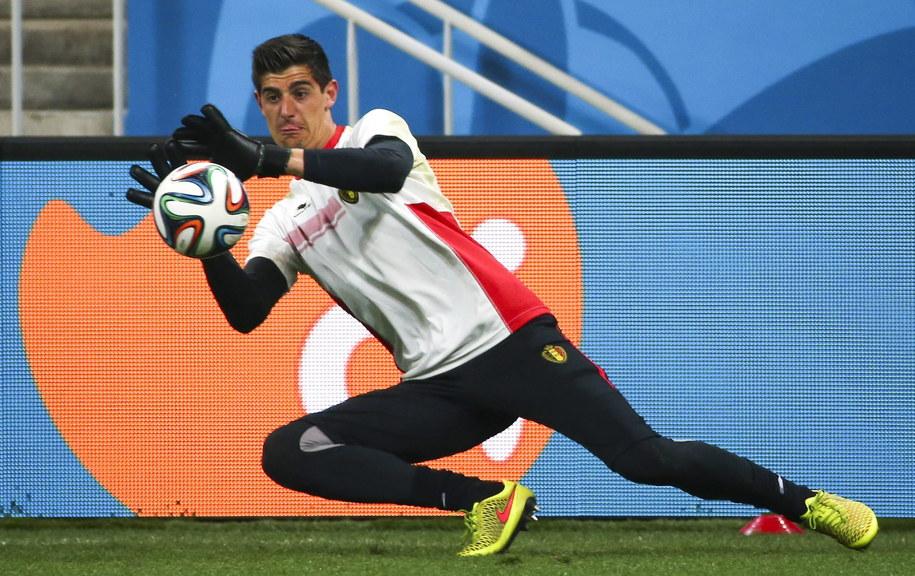 Bramkarz reprezentacji Belgii Thibaut Courtois w czasie treningu /DIEGO AZUBEL /PAP/EPA