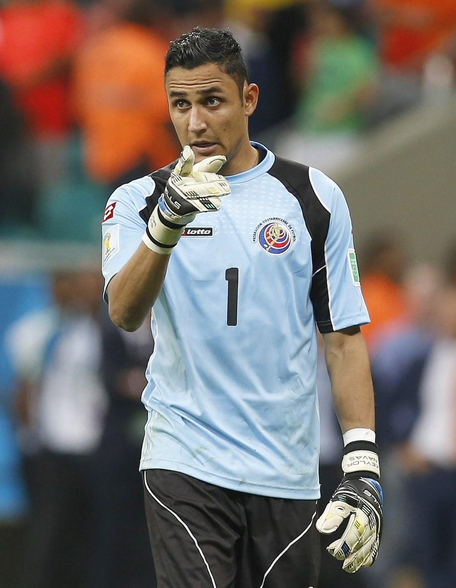 Bramkarz reprezentacji Kostaryki Keylor Navas podczas serii rzutów karnych w meczu 1/4 finału MŚ z Holandią /Chema Moya /PAP/EPA