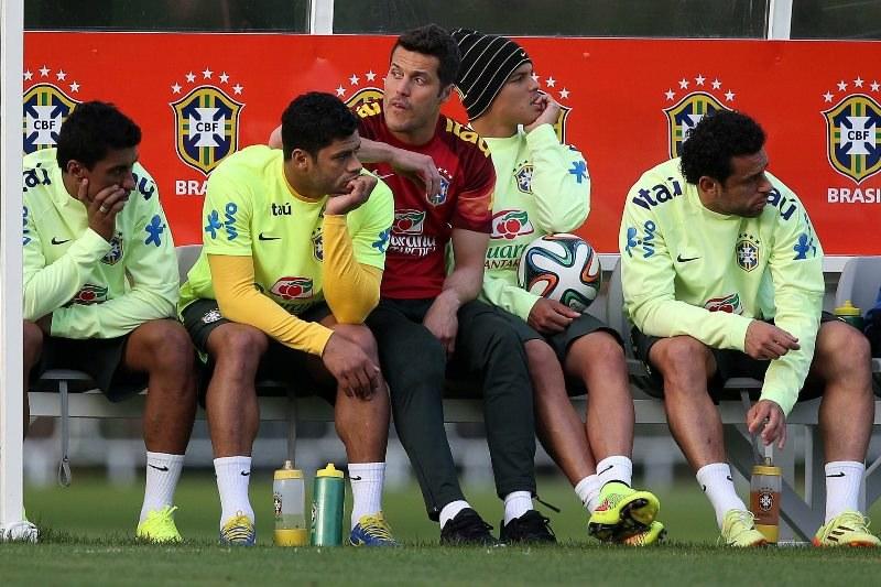 Brazylijska drużyna na treningu przed meczem z Niemcami /MARCELO SAYAO /PAP/EPA