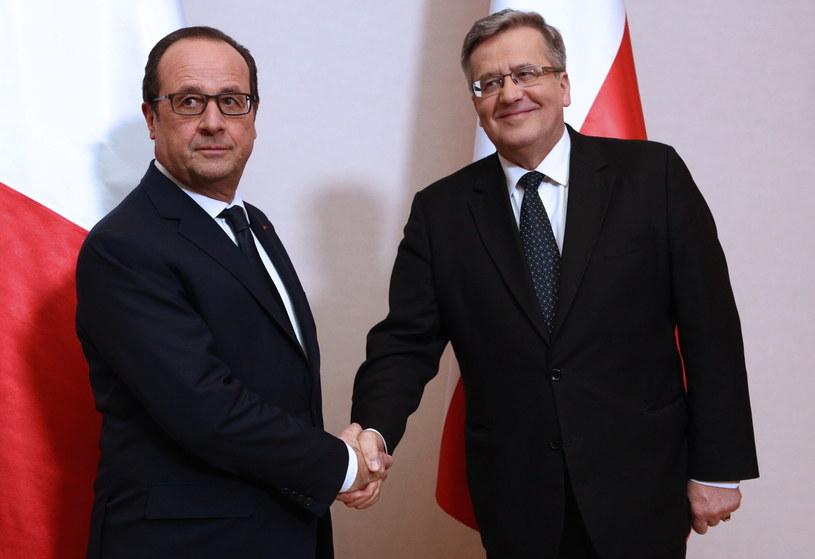Bronisław Komorowski Francois Hollande /Stanisław Rozpędzik /PAP