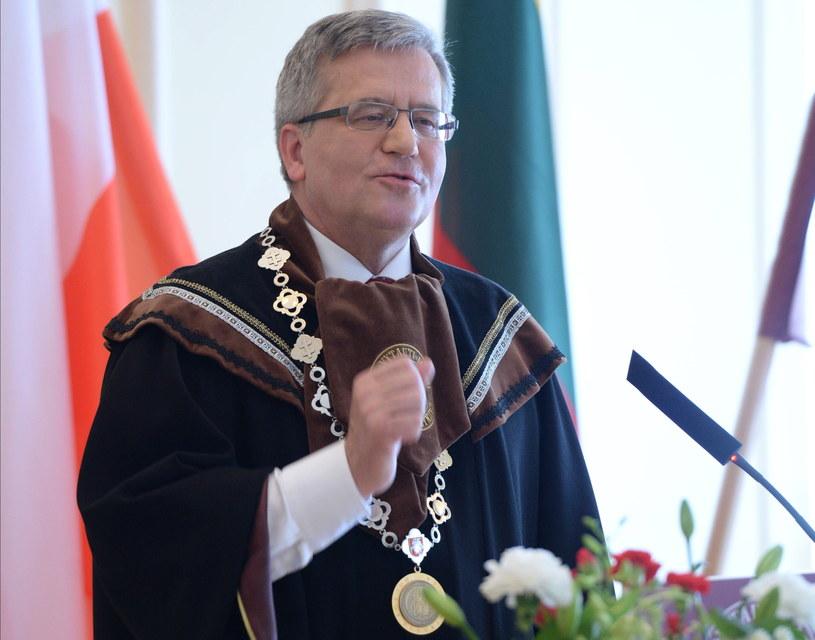 Bronisław Komorowski na Litwie /Jacek Turczyk /PAP