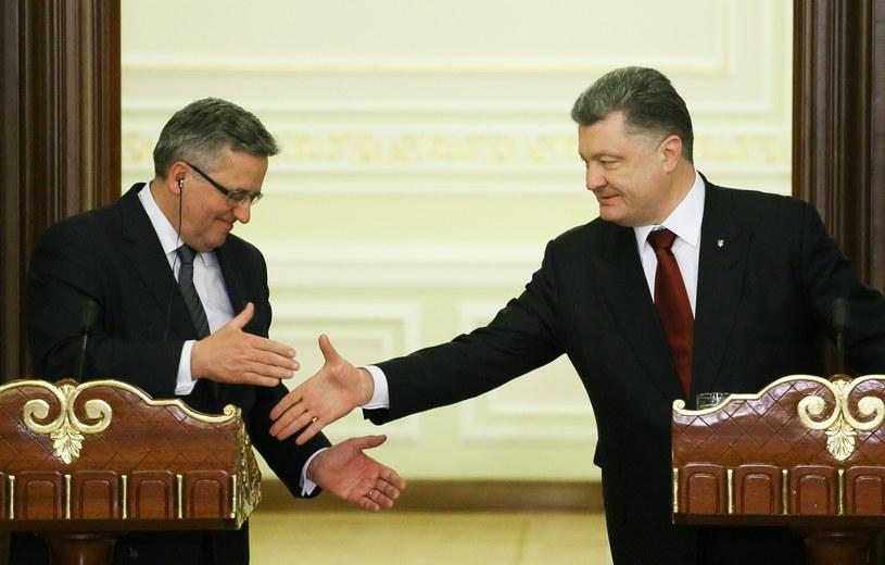 Bronisław Komorowski oraz prezydent Ukrainy Petro Poroszenko /Paweł Supernak /PAP