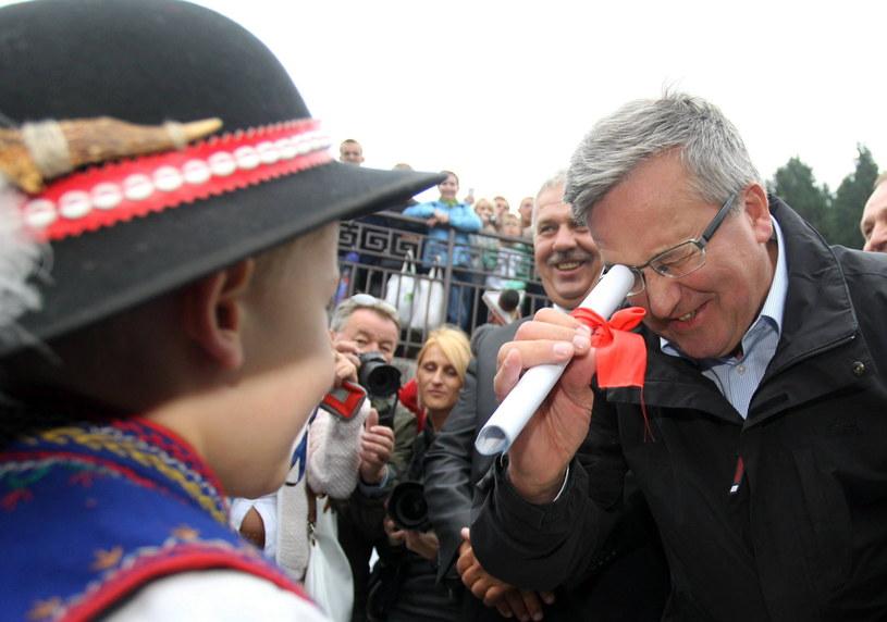 Bronisław Komorowski podczas spotkania w Szczawnicy z prezydentem Słowacji /Grzegorz Momot /PAP