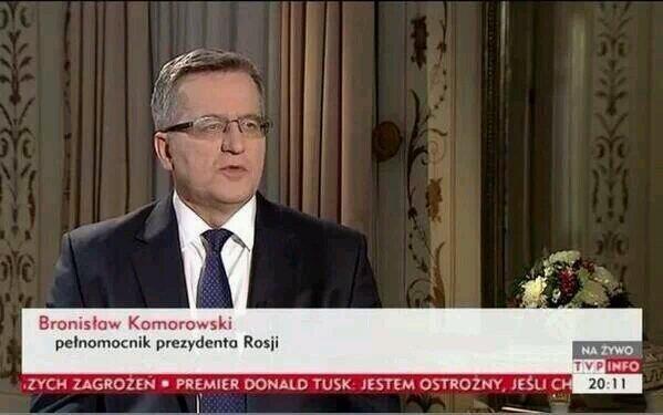 Bronisław Komorowski podpisany jako pełnomocnik prezydenta Rosji /