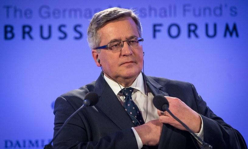 Bronisław Komorowski przemawia podczas forum German Marshall Fund /PAP/EPA