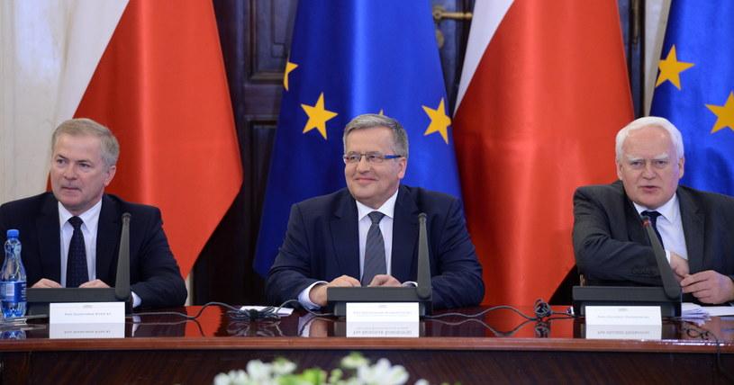Bronisław Komorowski, Sławomir Rybicki, Olgierd Dziekoński /Jacek Turczyk /PAP