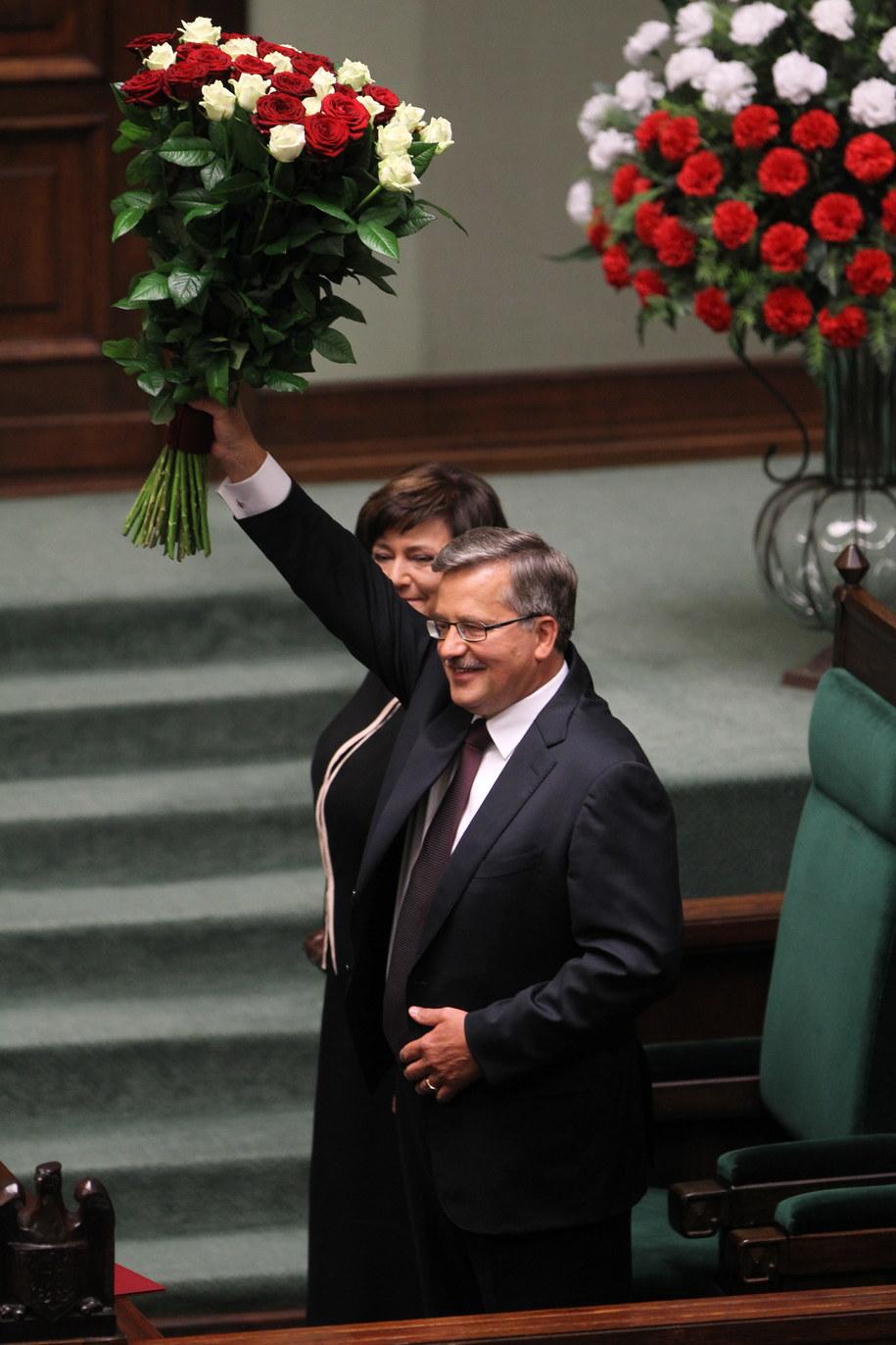 Bronisław Komorowski z małżonką Anną Komorowską /Bartłomiej Zborowski /PAP