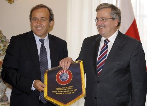 Bronisław Komorowski (z prawej), prezydent RP i Michel Platini, szef UEFA /AFP