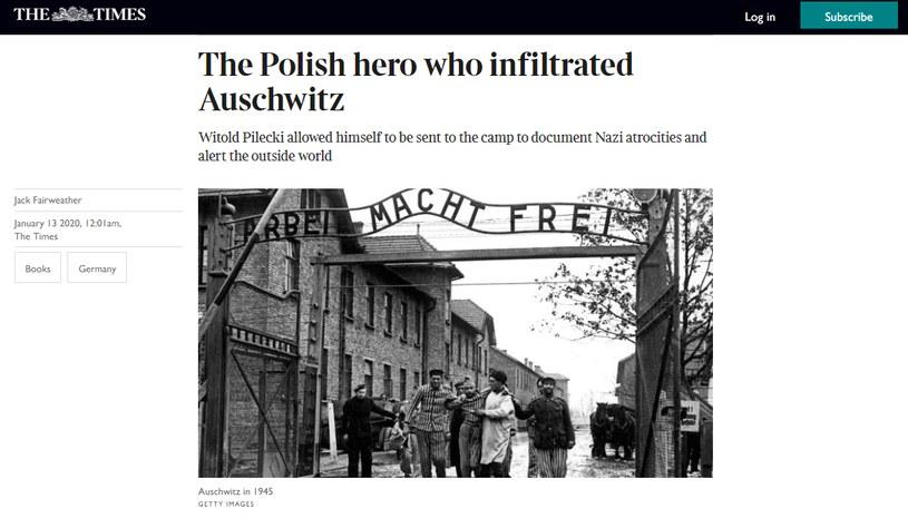 """Brytyjski """"The Times"""" opublikował fragment książki o rotmistrzu Witoldzie Pileckim (fot. strona internetowa """"The Times"""") /"""