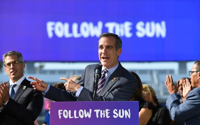 Burmistrz Los Angeles, Eric Garcetti ogłasza decyzje o przyznaniu Los Angeles igrzysk olimpijskich /AFP