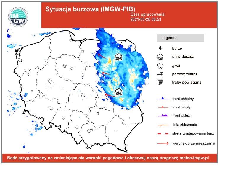 Burze przejdą przede wszystkim nad Podlasiem /IMGW /materiały prasowe