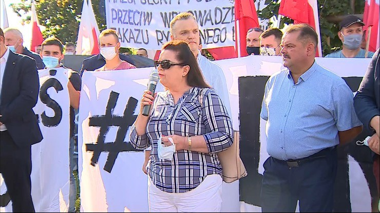 Była posłanka Renata Beger na proteście rolników /Polsat News