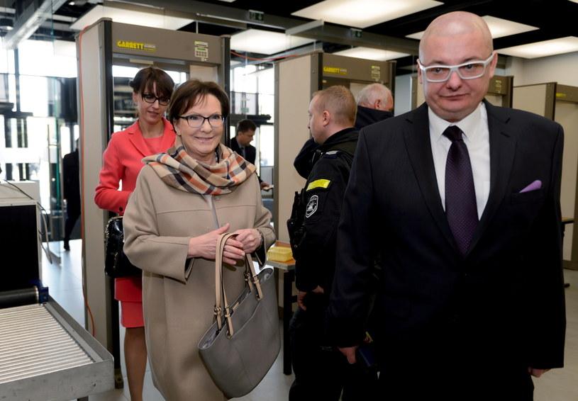 Była premier, posłanka PO Ewa Kopacz i poseł PO Michał Kamiński na terenie Międzynarodowych Targów Poznańskich /Jakub Kaczmarczyk /PAP