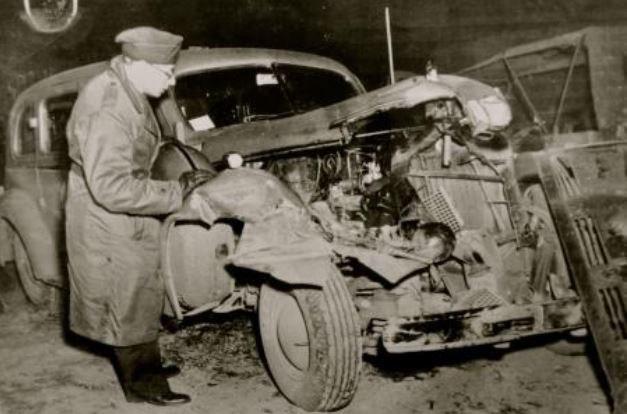 Cadillac 75 Special po wypadku 9 grudnia 1945 roku. Samochód ten później zaginął /INTERIA.PL/materiały prasowe