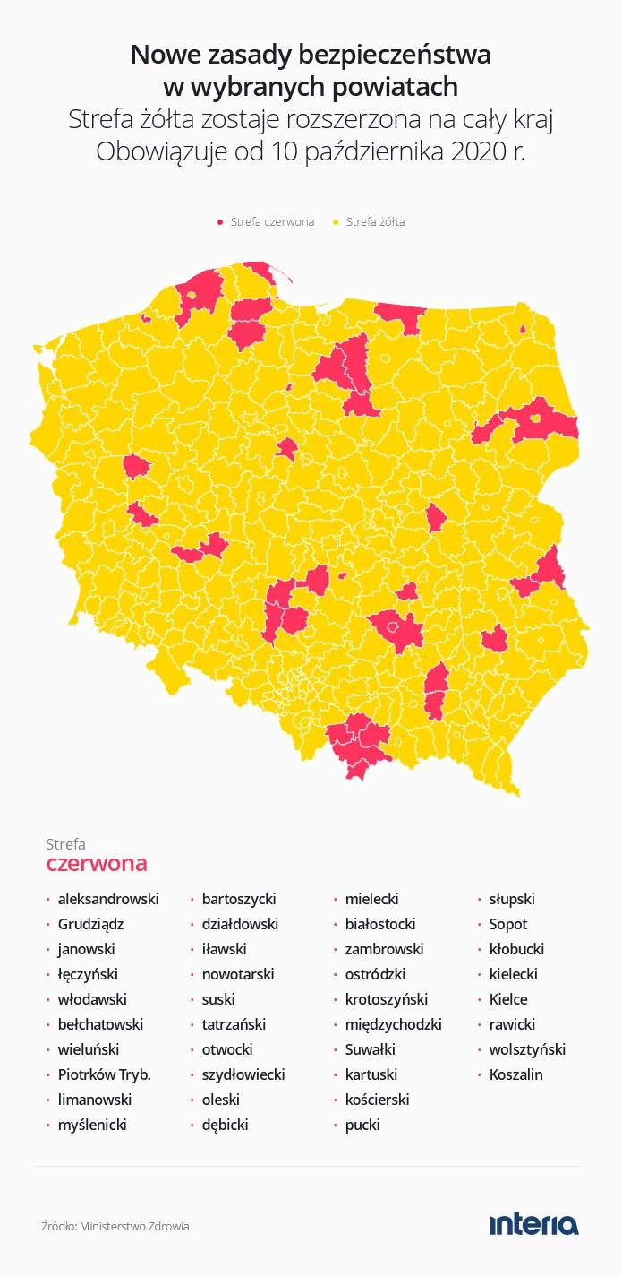 Cała Polska w żółtej strefie. Są też czerwone powiaty i miasta /INTERIA.PL