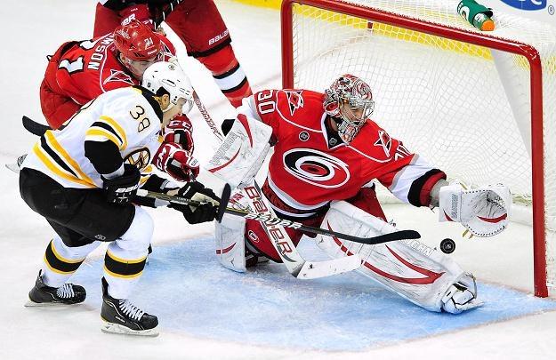 Cam Ward zachował czyste konto w meczu z Boston Bruins /AFP