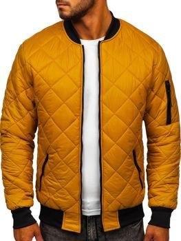 Camelowa przejściowa kurtka męska pikowana bomberka /materiały promocyjne