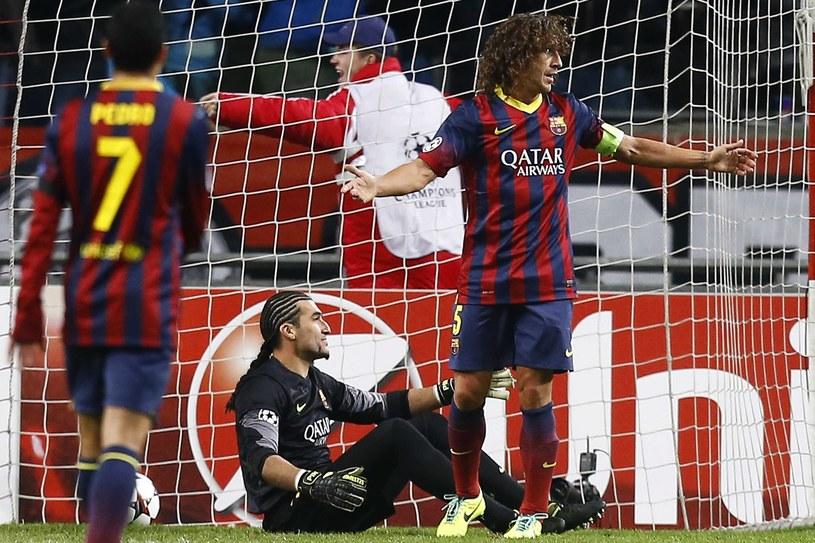 Carles Puyol, kapitan Barcelony podczas meczu z Ajaksem Amsterdam /PAP/EPA